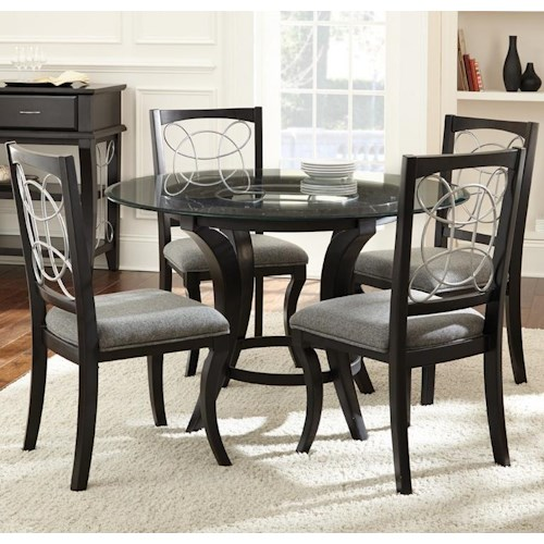 Steve Silver Cayman 5 Piece Glass Top Dining Set