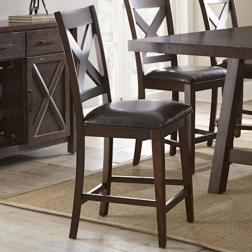 Morris Home Furnishings Clapton Counter Chair with X Back and Upholstered Seat