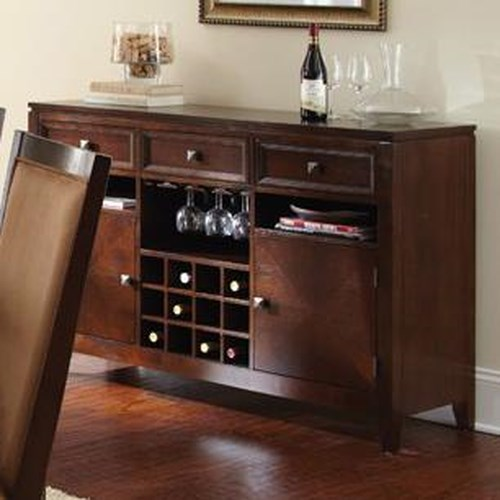Morris Home Furnishings Cornell Server with 3 Drawers and Wine Bottle Storage