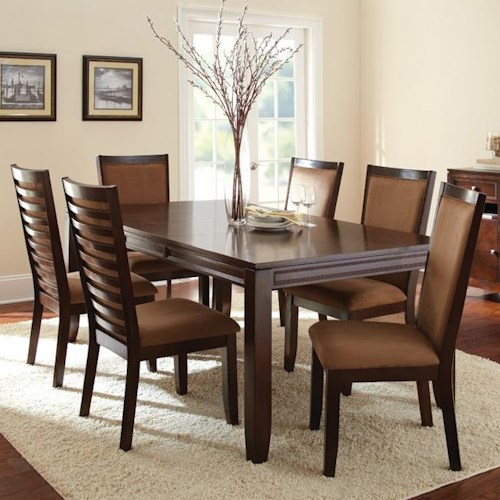 Morris Home Furnishings Cornell 7-Piece Formal Dark Brown Rectangular Dining Table & Ladder Back Side Chair Set
