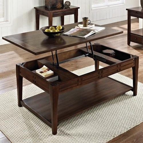Steve Silver Crestline Lift Top Cocktail Table with Casters and Shelf
