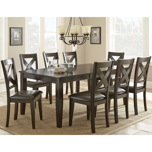 Vendor 3985 Crosspointe 9 Piece Dining Set with 18