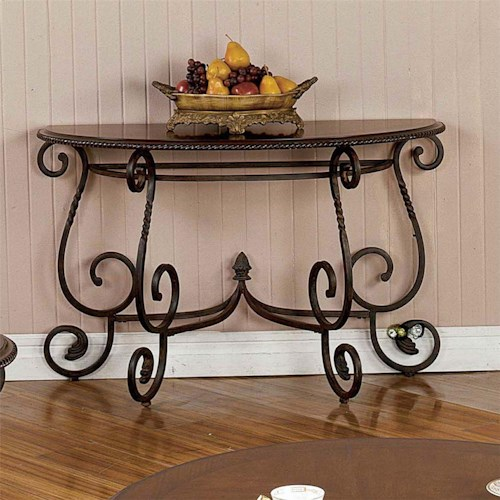 Steve Silver Crowley Traditional Scrolled Base Sofa Table