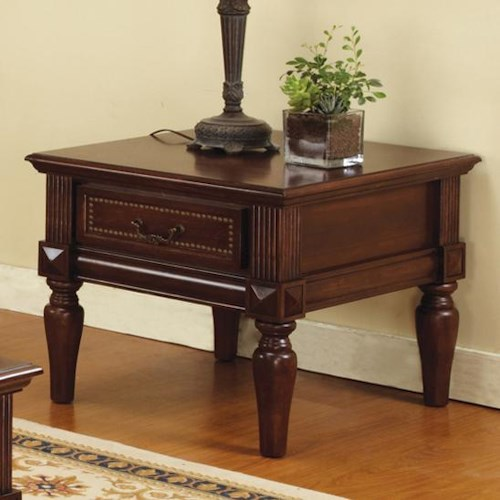 Morris Home Furnishings Davina Single Drawer Traditional End Table with Nailhead Trim