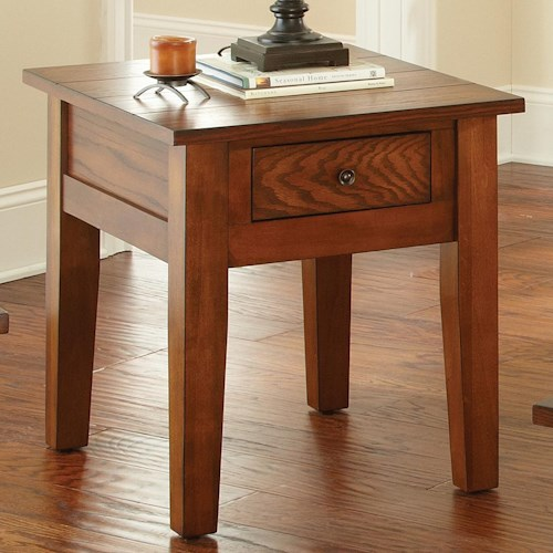 Vendor 3985 Desoto End Table with Drawer and Tapered Legs
