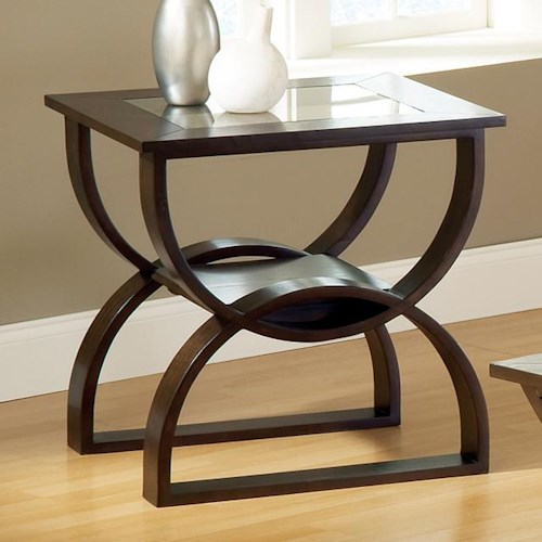 Morris Home Furnishings Dylan  Square End Table with Curved Base