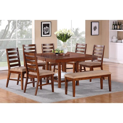 Vendor 3985 Eden 8-Piece Casual Cherry Pedestal Table, Side Chair, & Dining Bench Set