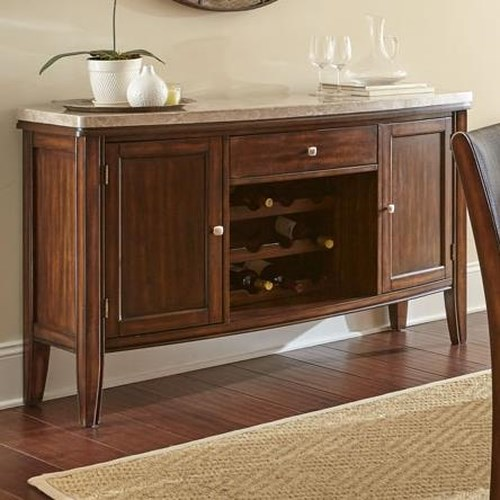 Steve Silver Eileen Sideboard with Marble Top and Wine Shelf Storage