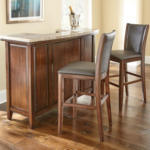 Morris Home Furnishings Eileen 3-Piece Marble Topped Bar with Upholstered Bar Stool Set