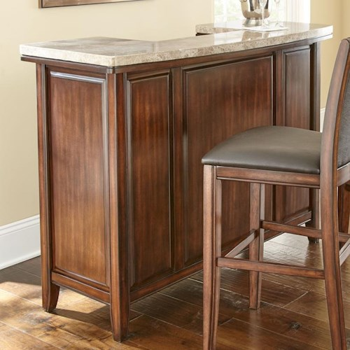 Morris Home Furnishings Eileen Marble Top Bar with Wine Storage