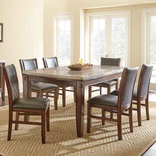 Vendor 3985 Eileen 7-Piece Marble Topped Dining Table with Upholstered Side Chair Set