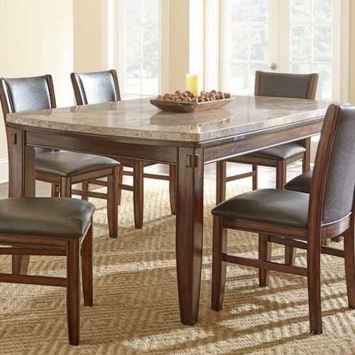 Morris Home Furnishings Eileen Marble Top Dining Table with Tapered Legs and Pecan Finish