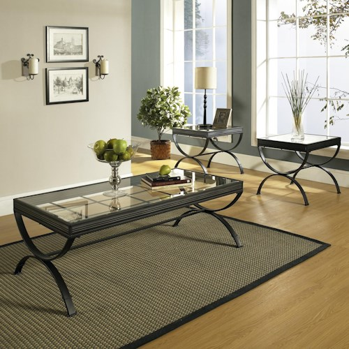 Morris Home Furnishings Emerson EM Metal & Glass Top 3 Pack Occasional Table