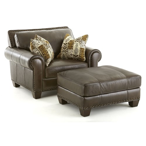 Morris Home Furnishings Escher Transitional Chair and a Half with Ottoman