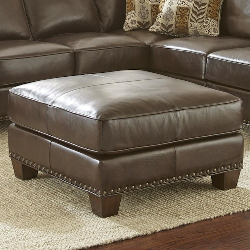 Morris Home Furnishings Escher Transitional Ottoman with Nailhead Trim