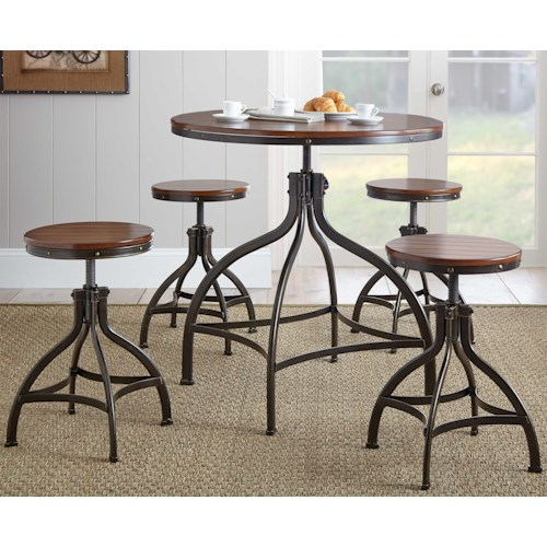 Morris Home Furnishings Fiona Industrial Style Adjusting Table and Chair Set