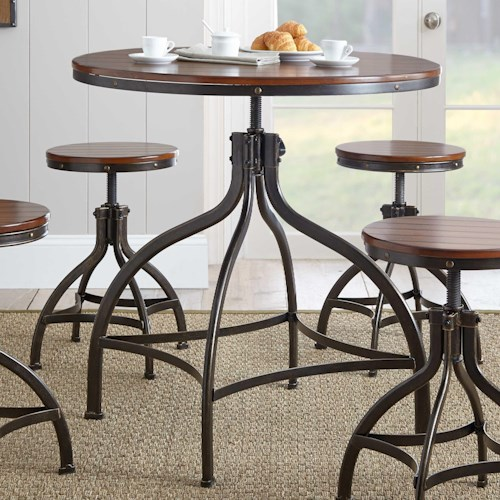 Morris Home Furnishings Fiona Industrial Round Table with Adjustable Height