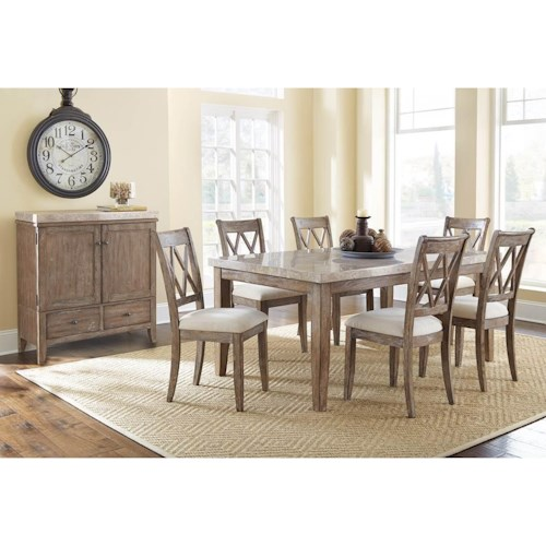 Steve Silver Franco Casual Marble Dining Room Group