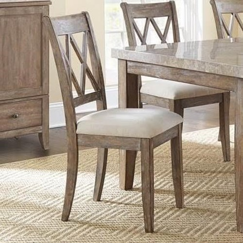 Morris Home Furnishings Franco Double X Back Dining Chair with Upholstered Seat
