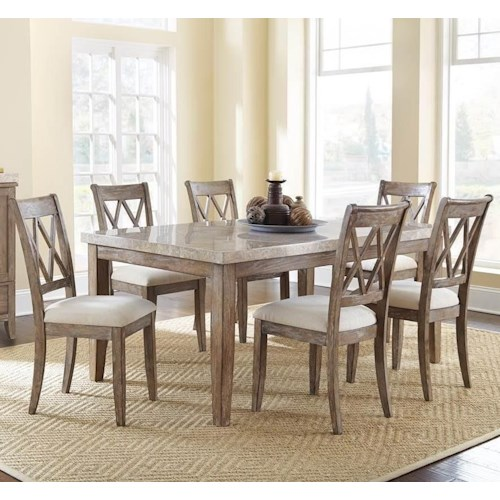 Steve Silver Franco 7 Piece Marble Top Dining Set