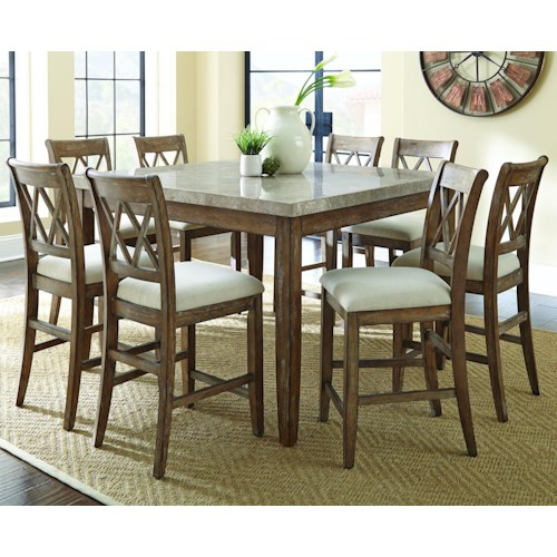 Vendor 3985 Franco 9 Piece Marble Counter Height Dining Set