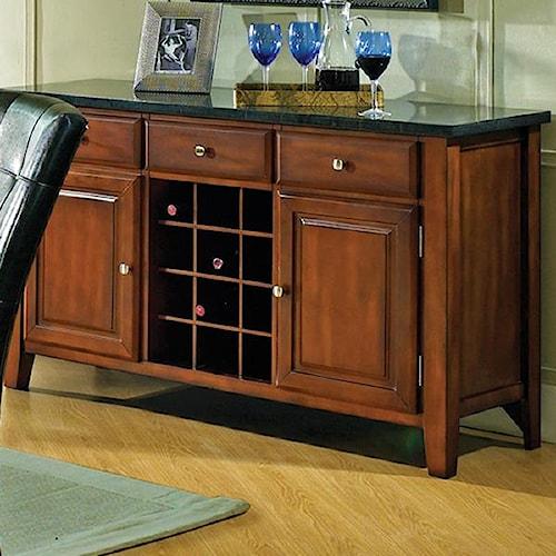 Morris Home Furnishings Granite Bello Granite Top 3-Drawer 2-Door Server with Wine Rack