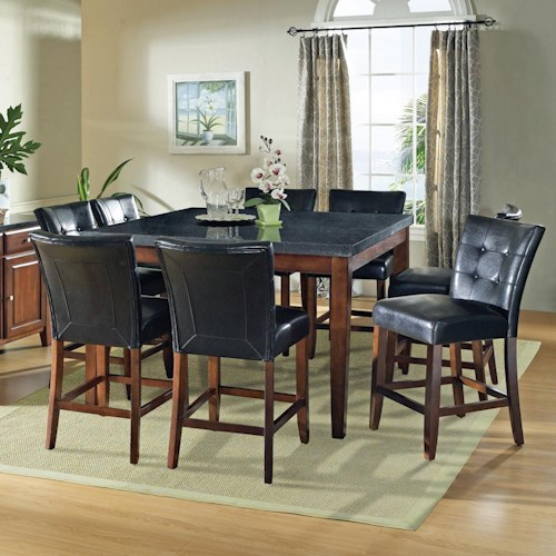 Morris Home Furnishings Granite Bello 9-Piece Gathering Table Set