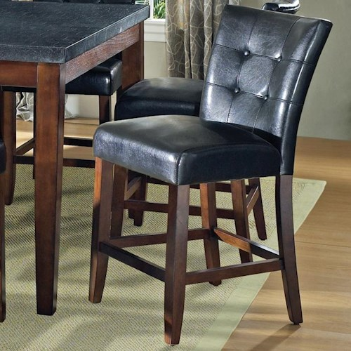 Morris Home Furnishings Granite Bello Black Vinyl Counter Height Parsons Chair