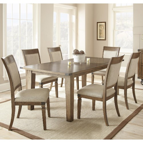Morris Home Furnishings Hailee 7 Piece Dining Set with 18