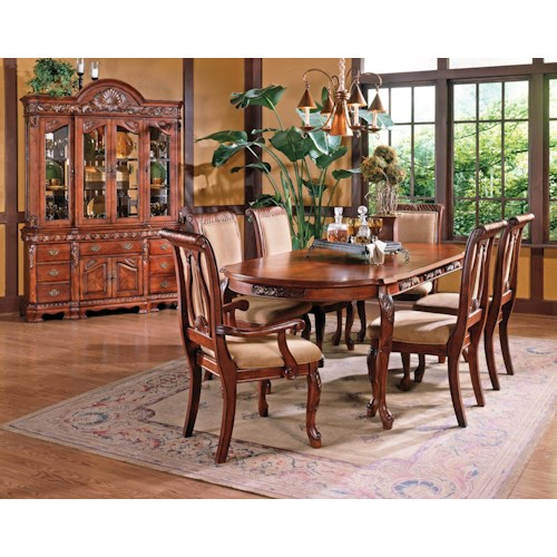 Steve Silver Harmony  7-Piece Traditional Oval Dining Table and Upholstered Seat Dining Chair Set