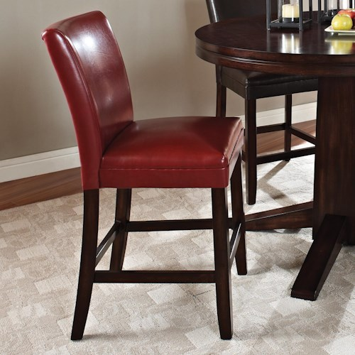 Steve Silver Hartford Contemporary Leather-Like Counter Chair with Stretchers