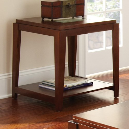 Vendor 3985 Ice Contemporary End Table with Cracked Glass Insert