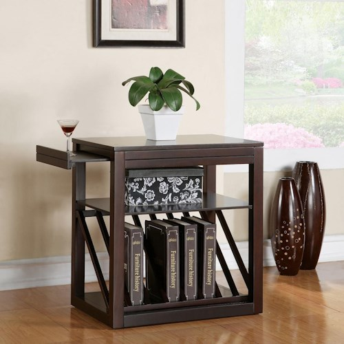 Steve Silver Jameson Casual Chairside End Table with Shelf, Tray, & Book Rack