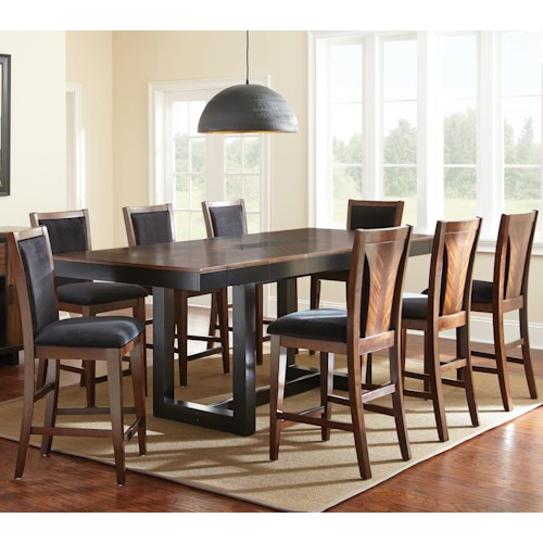 Morris Home Furnishings Julian 9 Piece Counter Height Dining Set with Zebra Wood Veneers