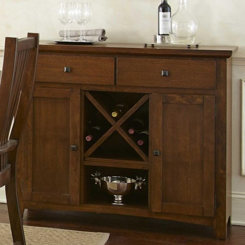 Morris Home Furnishings Kayan Server with 2 Doors and Wine Storage