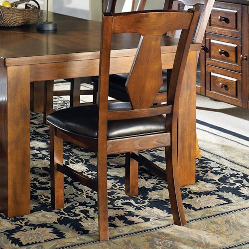 Morris Home Furnishings Lakewood  Transitional Oak Splat Back Side Chair