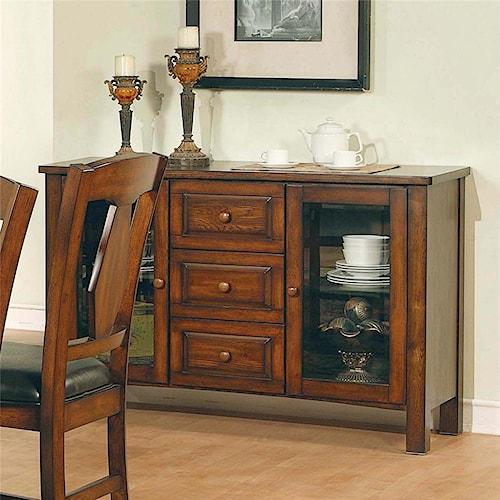 Morris Home Furnishings Lakewood  Transitional Brown Oak 3-Drawer 2-Door Server