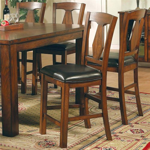 Morris Home Furnishings Lakewood  Transitional Splat Back Dining Counter Height Chair