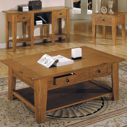 Morris Home Furnishings Liberty Casual 2-Drawer 1-Shelf Cocktail Table