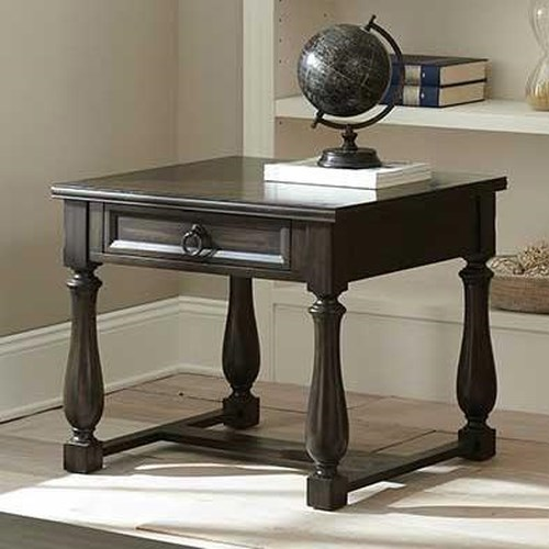 Vendor 3985 Leona End Table with One Drawer and Stretcher