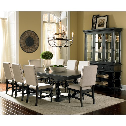 Steve Silver Leona 9-Piece Cottage Antique Black Table & Side Chair Set