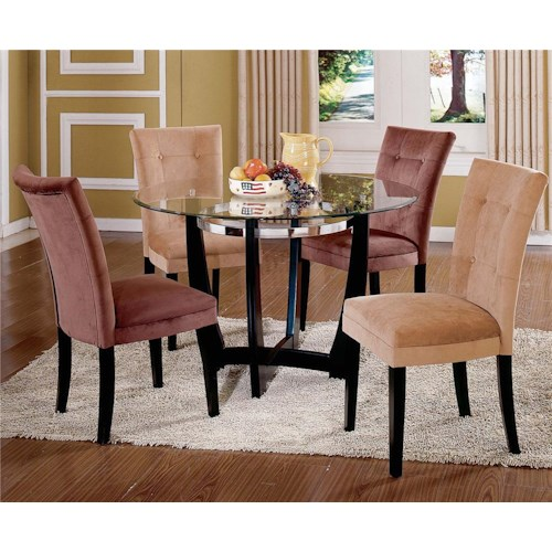 Vendor 3985 Matinee Glass Top Dining Table & Parson Side Chair Set