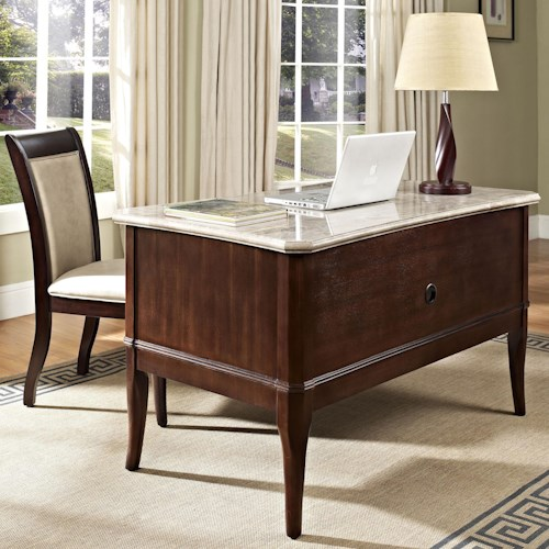 Steve Silver Marseille Transitional Double Pedestal Table Desk with Marble Top