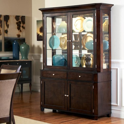 Morris Home Furnishings Marseille Transitional Glass Shelf China Buffet