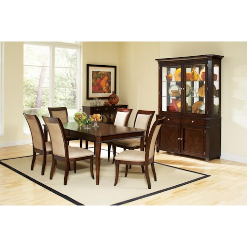 Morris Home Furnishings Marseille 7-Piece Rectangular Wood Top Table and Upholstered Side Chairs Dining Set