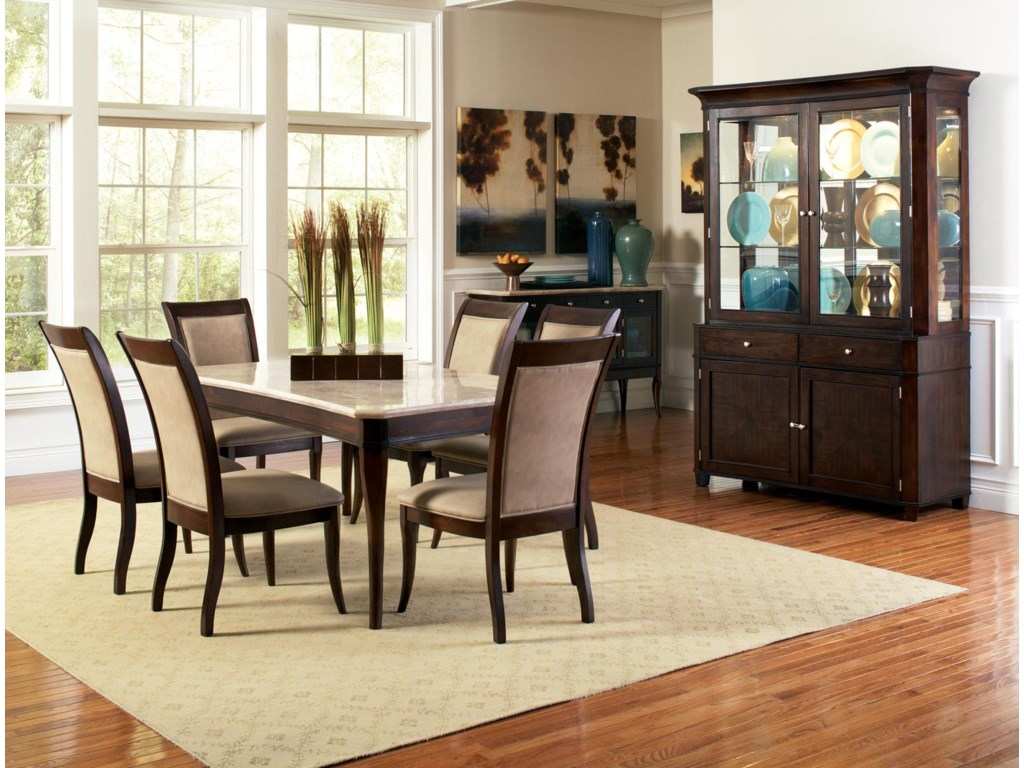 Shown with Marble Top Dining Table, Dining Side Chairs, and Buffet with Hutch