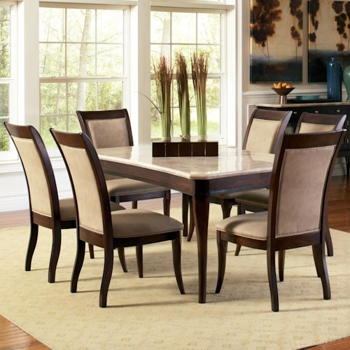 Steve Silver Marseille 7-Piece Rectangular Marble Table and Upholstered Side Chair Dining Set