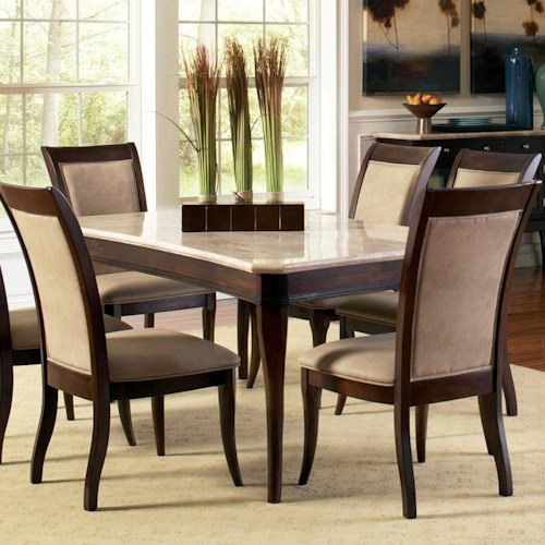 Morris Home Furnishings Marseille Transitional Rectangular Marble Top Dining Table