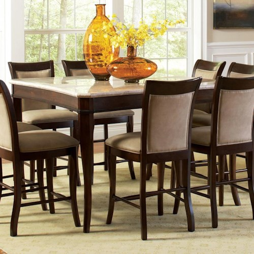 Steve Silver Marseille Transitional Square Marble Counter Height Dining Table