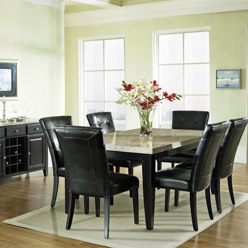 Vendor 3985 Monarch 7 Pc. Marble Veneer Top Leg Table with Parson Chairs